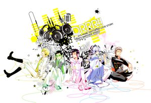 Rating: Safe Score: 17 Tags: book durarara!! glasses headphones heiwajima_shizuo japanese_clothes kadota_kyohei kida_masaomi kimono orihara_izaya ryuugamine_mikado User: HawthorneKitty