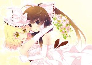 Rating: Safe Score: 76 Tags: 2girls bow elbow_gloves flowers gloves hakurei_reimu hat kirisame_marisa shoujo_ai touhou tsukasaki_aoi wedding wedding_attire witch User: FormX