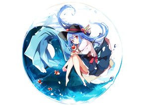 Rating: Safe Score: 48 Tags: animal aqua_hair bow fish hat hinanawi_tenshi long_hair red_eyes tagme_(artist) touhou User: RyuZU