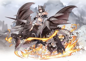 Rating: Safe Score: 66 Tags: armor breasts brown_hair cleavage dragon fire long_hair navel nyoronyoro orange_eyes original shorts weapon User: RyuZU