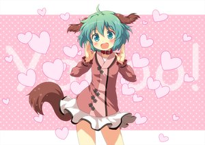 Rating: Safe Score: 85 Tags: animal_ears blush collar green_eyes green_hair heart kasodani_kyouko tail touhou yamasan User: opai