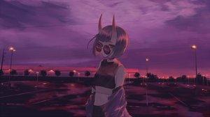 Rating: Safe Score: 24 Tags: choker clouds demon fate/grand_order fate_(series) horns litra_(ltr0312) navel purple purple_eyes purple_hair scenic short_hair shuten_douji_(fate) sky sunglasses sunset User: sadodere-chan