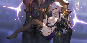 Rating: Questionable Score: 43 Tags: armor breasts cleavage closers garter_belt gray_hair long_hair mirae_(closers) no_bra red_eyes sketch stockings swd3e2 User: BattlequeenYume