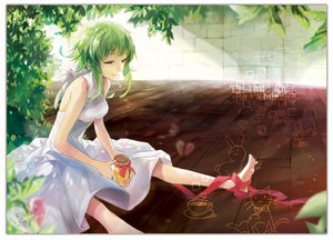 Rating: Safe Score: 98 Tags: animal barefoot cat dress drink green_eyes green_hair gumi leaves rabbit rahwia ribbons short_hair signed vocaloid User: ANIMEHTF
