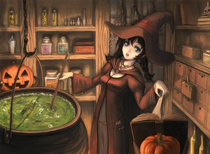 Rating: Safe Score: 96 Tags: blue_eyes book brown_hair domo halloween hat pumpkin witch witch_hat User: HawthorneKitty
