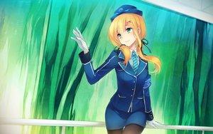 Rating: Safe Score: 98 Tags: blonde_hair emilia_(k.r.t._girls) gloves green_eyes hat k.r.t._girls long_hair pantyhose ribbons shinia skirt tie twintails uniform User: Flandre93
