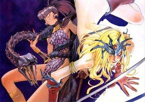 Rating: Safe Score: 6 Tags: 2girls armor blonde_hair purple_hair red_eyes tagme User: Oyashiro-sama