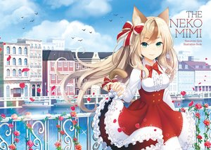 Rating: Safe Score: 83 Tags: animal animal_ears bird blonde_hair boat bow breasts building city clouds dress flowers green_eyes long_hair original petals rose runamochi sky water User: RyuZU
