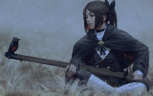 Rating: Safe Score: 136 Tags: animal bird blue_eyes bow brown_hair cape choker grass gun guweiz ponytail realistic uniform weapon User: luckyluna