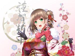 Rating: Safe Score: 49 Tags: blush bow breasts brown_hair flowers gloves gradient green_eyes midoriiro_no_shinzou original short_hair User: RyuZU