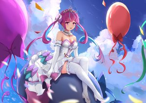 Rating: Safe Score: 50 Tags: clouds dress elbow_gloves gloves hololive long_hair minato_aqua purple_eyes purple_hair sky taikoi7 thighhighs tiara twintails User: BattlequeenYume