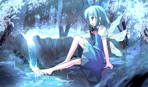 Rating: Safe Score: 56 Tags: barefoot blue_eyes blue_hair bow cirno dress risutaru touhou tree water wings User: STORM