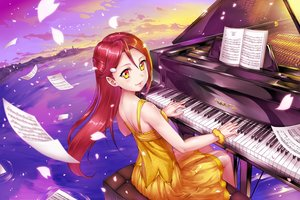 Rating: Safe Score: 40 Tags: clouds crazypen dress instrument long_hair love_live!_school_idol_project love_live!_sunshine!! music orange_eyes paper petals piano red_hair sakurauchi_riko sky water User: RyuZU
