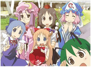 Rating: Safe Score: 66 Tags: aioi_yuuko akuto cosplay fairy group hakase_(nichijou) minakami_mai naganohara_mio nichijou sakurai_izumi shinonome_nano touhou User: Dust