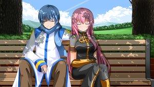 Rating: Safe Score: 44 Tags: blue_hair clouds kaito male megurine_luka pink_hair scarf shade sky vocaloid User: HawthorneKitty