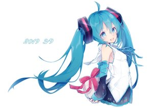 Rating: Safe Score: 33 Tags: aqua_eyes aqua_hair bondage bow chuuko_anpu hatsune_miku long_hair ribbons skirt twintails vocaloid white User: FormX
