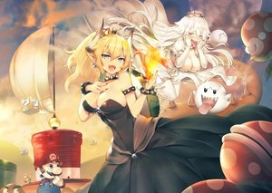 Rating: Safe Score: 75 Tags: aqua_eyes blonde_hair blush boo bowsette breasts choker cleavage clouds crown dress elbow_gloves erect_nipples fang fire genderswap gloves goomba hat horns khanshin koopa_troopa long_hair male mario piranha_plant pointed_ears ponytail princess_king_boo purple_eyes sky super_mario_bros white_hair wristwear User: luckyluna