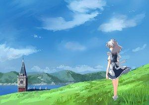 Rating: Safe Score: 32 Tags: clouds grass gray_hair izayoi_sakuya landscape maid scenic short_hair sky touhou User: Oyashiro-sama
