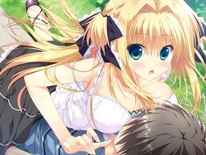 Rating: Safe Score: 181 Tags: asaba_yuu blonde_hair blush breasts cleavage feng game_cg green_eyes hoshizora_e_kakaru_hashi hoshizora_e_kakaru_hashi_aa long_hair nanamori_seira User: Wiresetc