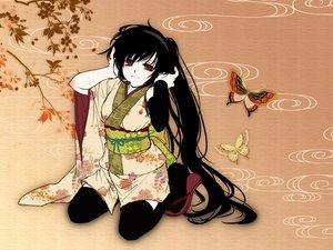 Rating: Safe Score: 77 Tags: black_hair butterfly flowers headphones japanese_clothes long_hair mio_(yumehikou) nagone_mako red_eyes thighhighs utau yukata User: opai