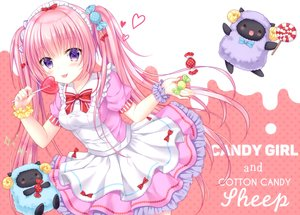 Rating: Safe Score: 43 Tags: animal blush bow candy cat_smile headdress heart kohinata_hoshimi lolita_fashion lollipop long_hair original pink_hair purple_eyes scan sheep skirt twintails wristwear User: Nepcoheart