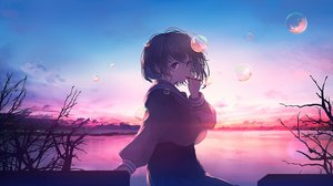 Rating: Safe Score: 84 Tags: brown_eyes brown_hair bubbles clouds mifuru original polychromatic school_uniform short_hair skirt sky sunset User: otaku_emmy