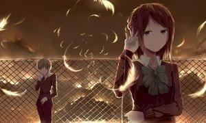 Rating: Safe Score: 68 Tags: bow brown_hair clouds feathers fujimiya_kaori green_eyes hase_yuuki isshuukan_friends lilikou male seifuku short_hair sky User: Flandre93