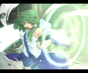 Rating: Safe Score: 41 Tags: green_eyes green_hair japanese_clothes kochiya_sanae long_hair miko morino_hon touhou weapon User: PAIIS