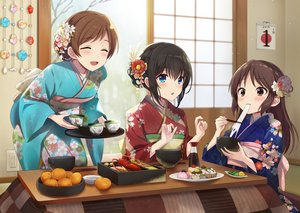 Rating: Safe Score: 70 Tags: aliasing aqua_eyes azuki_yui black_hair blush brown_eyes brown_hair drink flowers food fruit idolmaster idolmaster_cinderella_girls japanese_clothes kimono loli long_hair nitta_minami orange_(fruit) sagisawa_fumika short_hair tachibana_arisu User: RyuZU