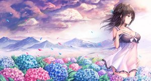 Rating: Safe Score: 115 Tags: blush breasts brown_hair cleavage clouds dress flowers long_hair original petals purple_eyes see_through sky tama_satou User: RyuZU