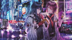 Rating: Safe Score: 72 Tags: 2girls arknights building car cigarette city exusiai_(arknights) junpaku_karen long_hair mcdonald's night phone short_hair texas_(arknights) User: BattlequeenYume