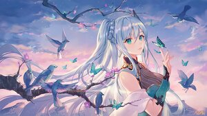 Rating: Safe Score: 187 Tags: animal atdan bird blue_hair breasts butterfly cangqiong cleavage clouds flowers green_eyes long_hair ponytail signed sky synthesizer_v twintails User: BattlequeenYume