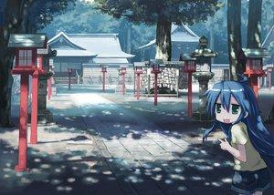 Rating: Safe Score: 55 Tags: blue_hair green_eyes isou_nagi izumi_konata long_hair lucky_star shorts tree User: HawthorneKitty