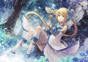 Rating: Safe Score: 97 Tags: angel31424 blonde_hair blue boots flowers leaves ponytail staff thighhighs tree water yellow_eyes User: Flandre93