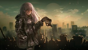 Rating: Safe Score: 45 Tags: brown_eyes building city clouds dark girls_frontline hat hoodie long_hair moon necklace original pantyhose scenic skirt sky tagme_(artist) white_hair User: BattlequeenYume