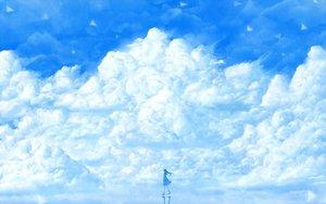 Rating: Safe Score: 100 Tags: bou_nin clouds long_hair original scenic skirt sky socks User: Flandre93