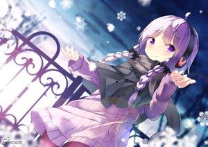 Rating: Safe Score: 48 Tags: bow braids cape chinomaron headphones long_hair pantyhose purple_eyes purple_hair signed snow twintails vocaloid voiceroid winter yuzuki_yukari User: RyuZU