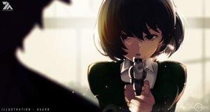 Rating: Safe Score: 45 Tags: brown_hair close gun haaro original red_eyes short_hair watermark weapon User: luckyluna