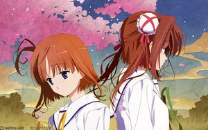 Rating: Safe Score: 9 Tags: asakura_yume blue_eyes brown_hair da_capo_ii orange_hair petals ribbons school_uniform short_hair sky tsukishima_koko User: Oyashiro-sama
