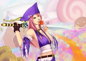 Rating: Safe Score: 25 Tags: candy gloves green_eyes hat pink_hair sword tagme_(artist) weapon User: HawthorneKitty