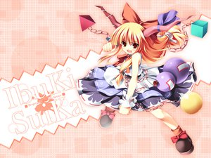 Rating: Safe Score: 36 Tags: blonde_hair brown_eyes dress fang horns ibuki_suika long_hair ribbons tateha touhou User: Oyashiro-sama