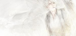 Rating: Safe Score: 26 Tags: all_male ginko_(mushishi) gray male mizutame_tori mushishi smoking User: FormX