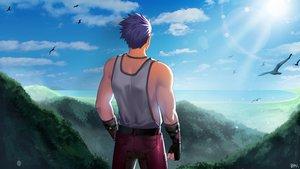 Rating: Questionable Score: 3 Tags: all_male animal ashi_kosugi bird blue_hair clouds forest male necklace original shirt short_hair signed sky tree User: mattiasc02