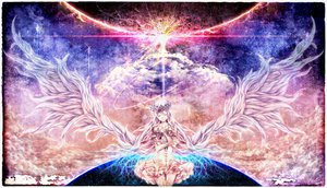 Rating: Safe Score: 171 Tags: bouno_satoshi clouds earth flowers halo ia long_hair planet stars vocaloid white_hair wings User: FormX