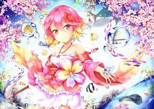 Rating: Safe Score: 82 Tags: animal anthropomorphism braids bubbles cherry_blossoms fish flowers ikasoke_(likerm6au) petals pink_eyes pink_hair sergestid_shrimp_in_tungkang short_hair xuan_ying User: RyuZU