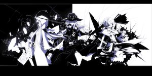 Rating: Safe Score: 118 Tags: alice_margatroid katana kirisame_marisa koumajou_densetsu monochrome patchouli_knowledge sword tan_(carbon) touhou weapon User: opai