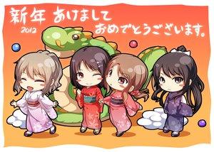 Rating: Safe Score: 38 Tags: black_hair brown_eyes brown_hair chobipero clouds dragon japanese_clothes kimono long_hair original red_eyes short_hair User: Maboroshi