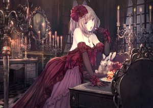 Rating: Safe Score: 91 Tags: apple228 aqua_eyes bow brown_hair cake couch dress elbow_gloves fire food fruit gloves jpeg_artifacts lolita_fashion mirror necklace original short_hair strawberry User: RyuZU