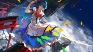 Rating: Safe Score: 86 Tags: blue_hair bow clouds dress hinanawi_tenshi long_hair red_eyes signed swd3e2 torii touhou User: Flandre93