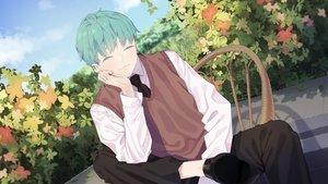 Rating: Safe Score: 21 Tags: agnamore all_male clouds flowers green_hair leaves male original school_uniform short_hair sky tie waifu2x User: otaku_emmy